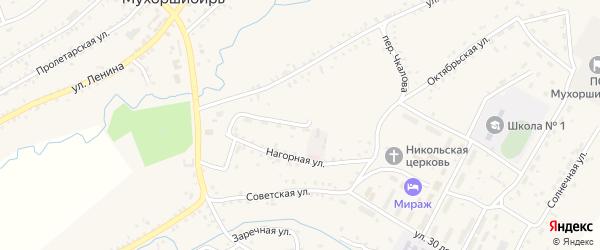 Нагорная улица на карте села Мухоршибири с номерами домов