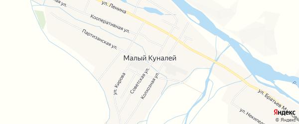 Карта села Малого Куналея в Бурятии с улицами и номерами домов