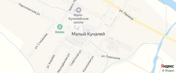 Юбилейный переулок на карте села Малого Куналея с номерами домов