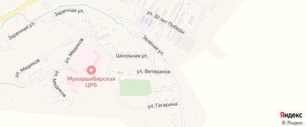 Переулок Ветеранов на карте села Мухоршибири с номерами домов