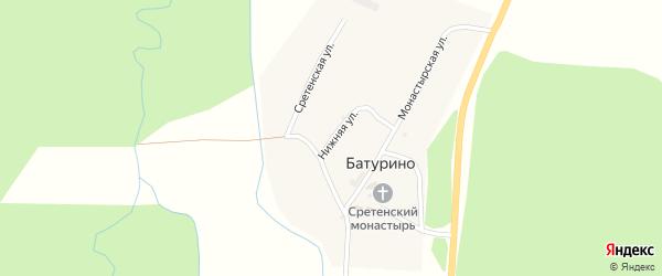 Нижняя улица на карте села Батурино с номерами домов