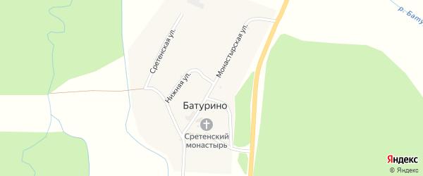 Монастырская улица на карте села Батурино с номерами домов