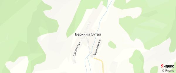 Карта села Верхнего Сутая в Бурятии с улицами и номерами домов