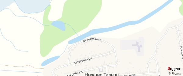 Береговая улица на карте поселка Нижние Тальцы с номерами домов
