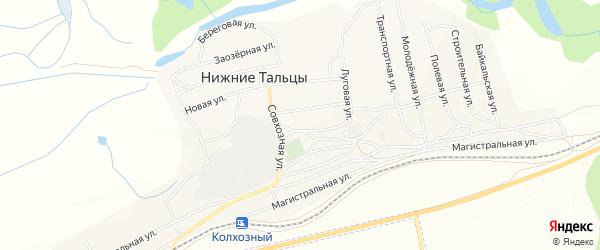 СНТ Здоровье на карте поселка Нижние Тальцы с номерами домов
