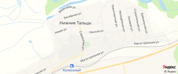 СНТ Трикотажник 2-й на карте поселка Нижние Тальцы с номерами домов