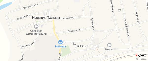 Омская улица на карте поселка Нижние Тальцы с номерами домов