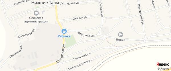 Звездная улица на карте поселка Нижние Тальцы с номерами домов