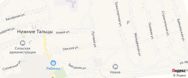 Луговая улица на карте поселка Нижние Тальцы с номерами домов