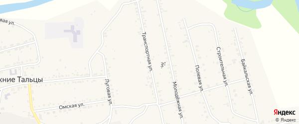Транспортная улица на карте поселка Нижние Тальцы с номерами домов