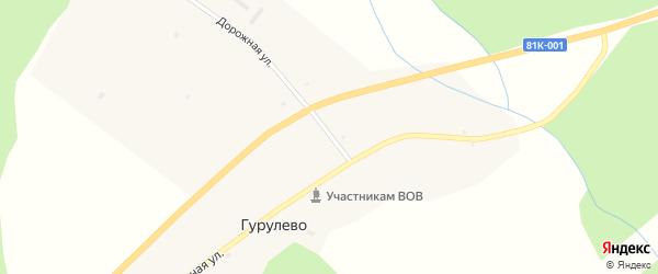 Дорожная улица на карте села Гурулево с номерами домов