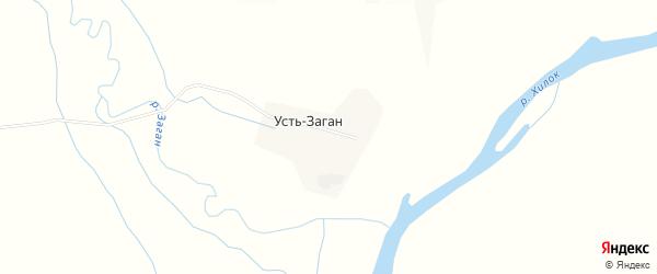 Карта села Устя-Загана в Бурятии с улицами и номерами домов