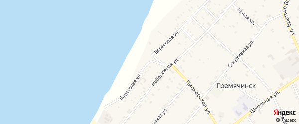 Береговая улица на карте села Гремячинска с номерами домов