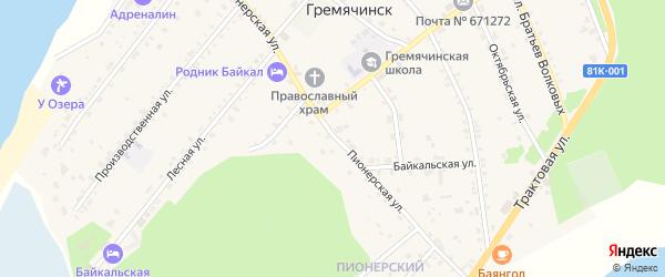 Пионерская улица на карте села Гремячинска с номерами домов