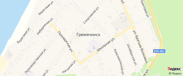 Спортивный переулок на карте села Гремячинска с номерами домов
