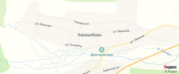 Карта села Харашибири в Бурятии с улицами и номерами домов