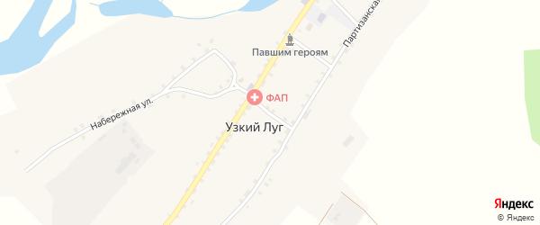 Песчаный переулок на карте села Узкого Луга с номерами домов