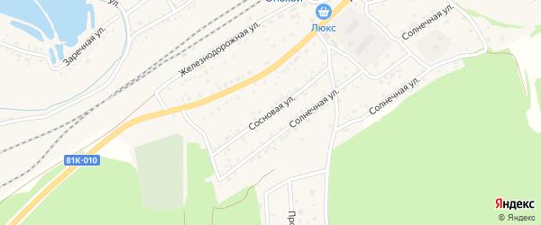 Сосновая улица на карте Онохого поселка с номерами домов