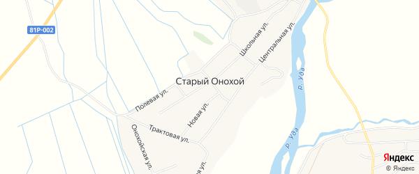 Карта села Старого Онохой в Бурятии с улицами и номерами домов