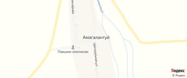 Центральная улица на карте улуса Амагалантуй с номерами домов