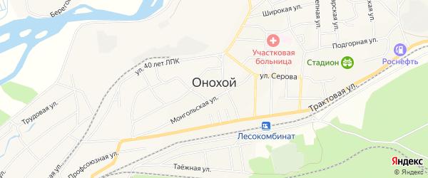 СНТ Заозерный на карте Онохого поселка с номерами домов