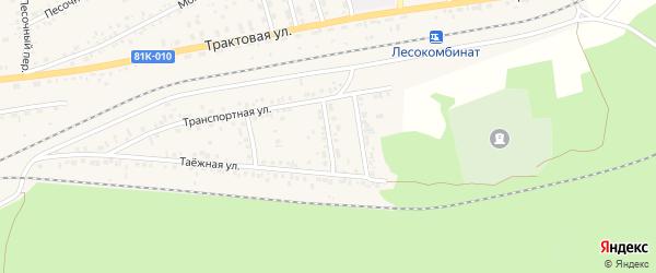 Транспортный переулок на карте Онохого поселка с номерами домов