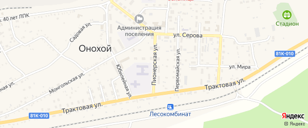 Пионерская улица на карте Онохого поселка с номерами домов