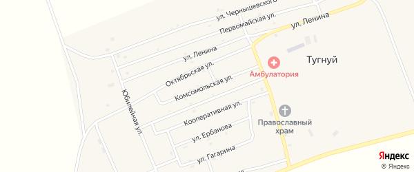 Комсомольская улица на карте села Тугнуй с номерами домов