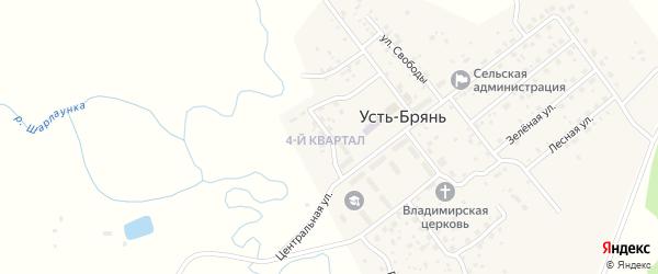 Солнечная улица на карте села Усть-Брянь с номерами домов