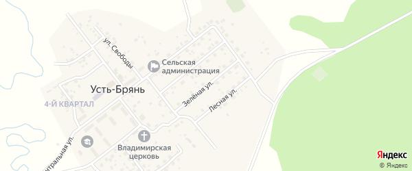 Зеленая улица на карте села Усть-Брянь с номерами домов
