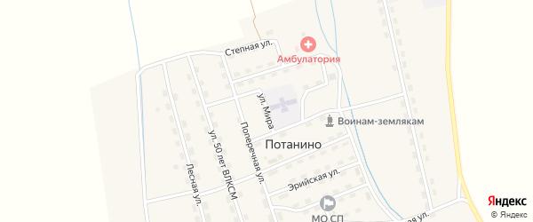 Улица Мира на карте поселка Потанино с номерами домов