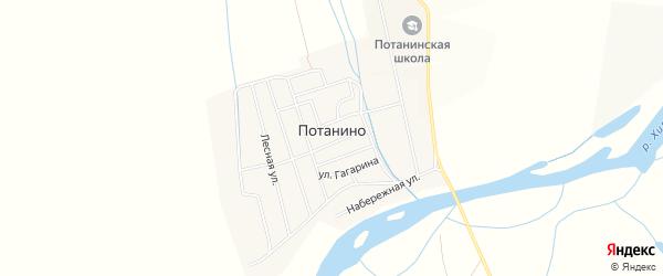 Карта поселка Потанино в Бурятии с улицами и номерами домов