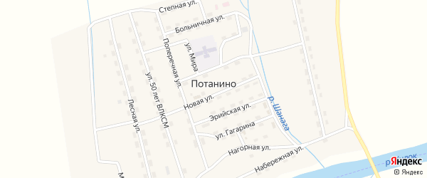 Лесная улица на карте поселка Потанино с номерами домов