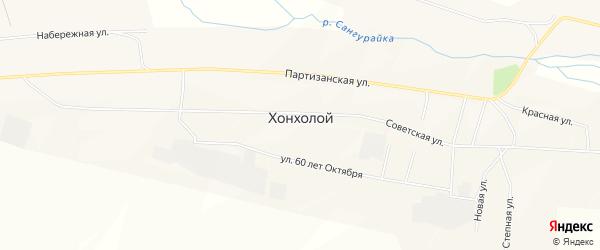 Карта села Хонхолоя в Бурятии с улицами и номерами домов