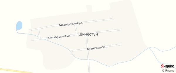 Октябрьская улица на карте улуса Шинестуй с номерами домов