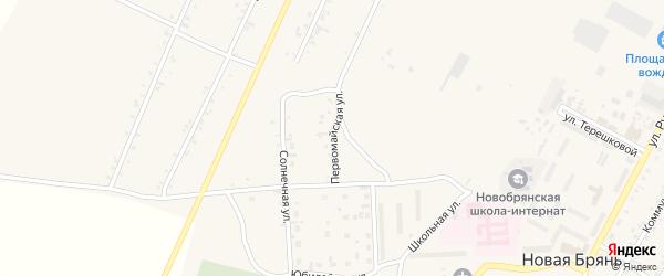Первомайская улица на карте села Новой Бряни с номерами домов