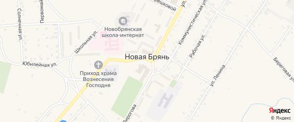 Дорожная улица на карте села Новой Бряни с номерами домов