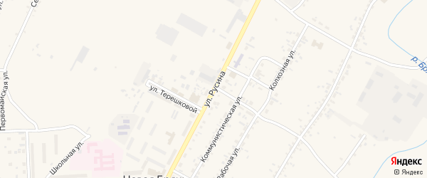 Улица Русина на карте села Новой Бряни с номерами домов