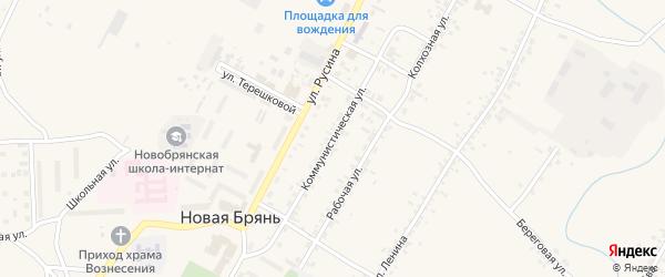 Коммунистическая улица на карте села Новой Бряни с номерами домов