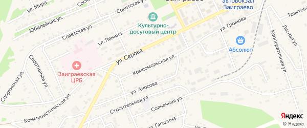 Комсомольская улица на карте поселка Заиграево с номерами домов