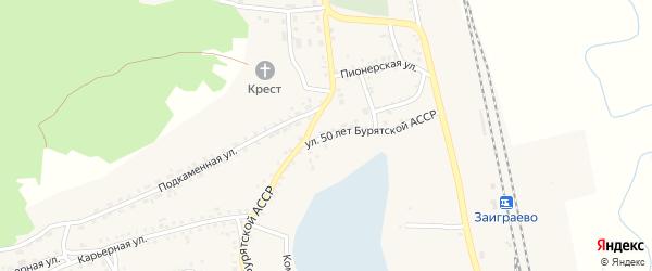 Улица 50 лет Бурятской АССР на карте поселка Заиграево с номерами домов