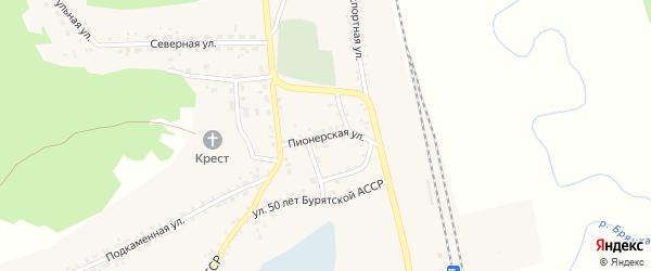 Пионерская улица на карте поселка Заиграево с номерами домов