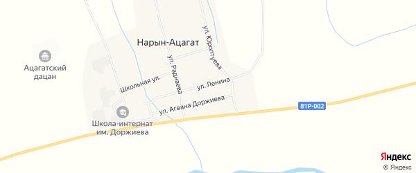 Карта села Нарына-Ацагата в Бурятии с улицами и номерами домов