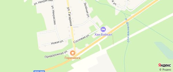 Сосновая улица на карте села Горячинска с номерами домов