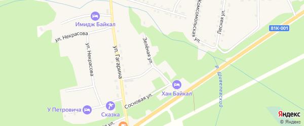 Зеленая улица на карте села Горячинска с номерами домов