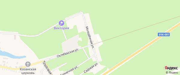 Молодежная улица на карте села Горячинска с номерами домов