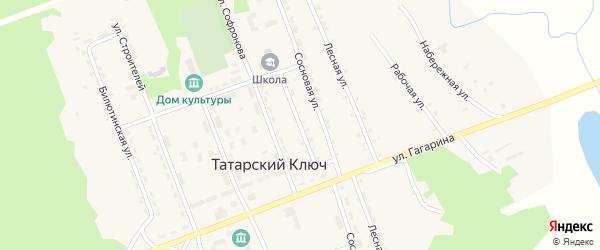 Школьная улица на карте поселка Татарского Ключа с номерами домов