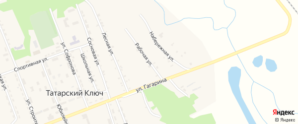 Рабочая улица на карте поселка Татарского Ключа с номерами домов