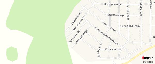 Кедровый переулок на карте поселка Сагана-Нура с номерами домов