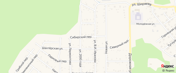 Сибирский переулок на карте поселка Сагана-Нура с номерами домов